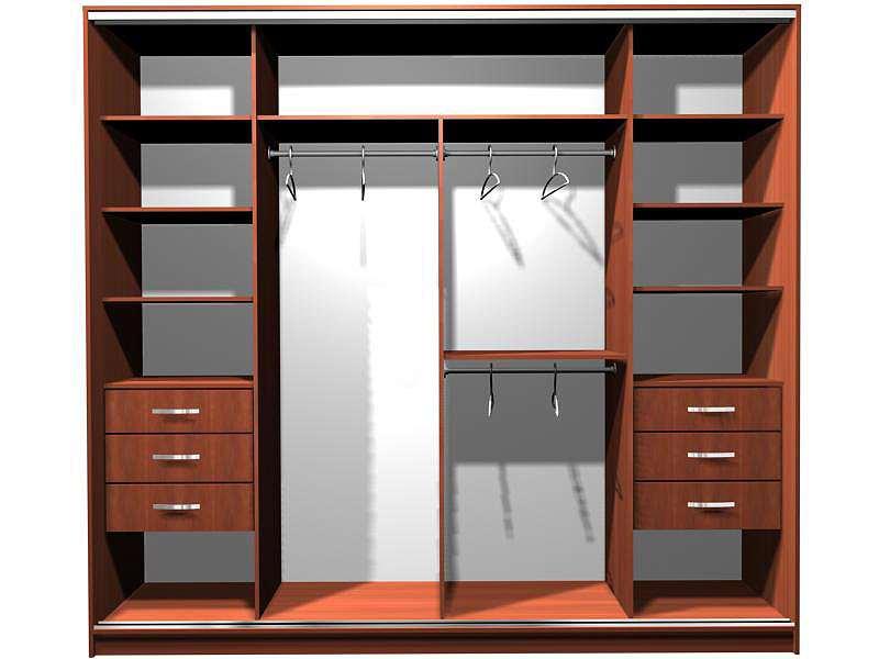как разместить полки в шкафу-купе фото